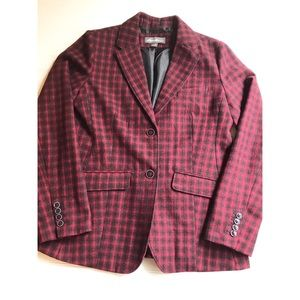 Eddie Bauer two button wool blazer red check print